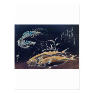 Japanese Sea Life Painting circa 1800 s Postcards