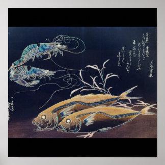 Japanese Sea Life Painting circa 1800's Poster