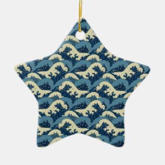 Japanese sea waves pattern ceramic star decoration
