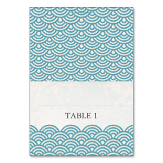 Japanese Seigaiha Foldable Place Card Setting Table Cards