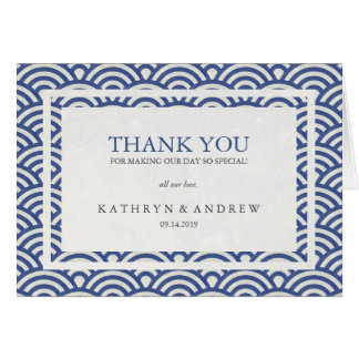 Japanese Seigaiha Personalized Wedding Thank You Note Card