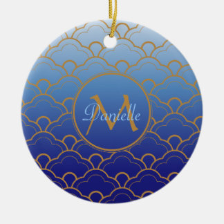 Japanese Seigaiha Scallop Gradated Royal Blue Gold Christmas Ornament