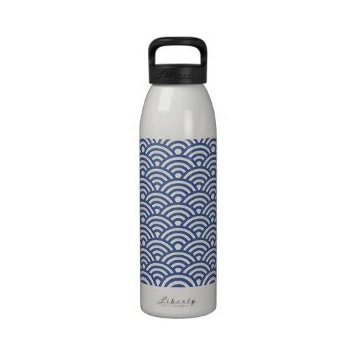 Japanese Seigaiha Wave Patterned Water Bottle