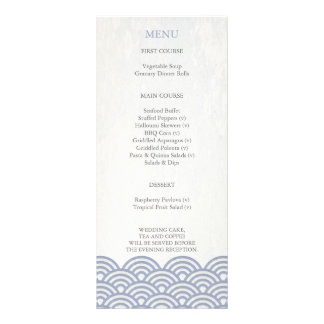 Japanese Seigaiha Waves Elegant Beach Wedding Menu