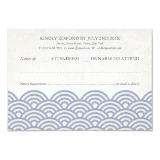 Japanese Seigaiha Waves Elegant Beach Wedding RSVP Card