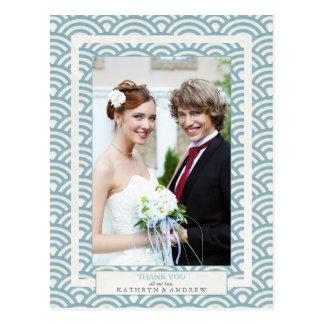 Japanese Seigaiha Wedding Thank You/Custom Photo Postcard