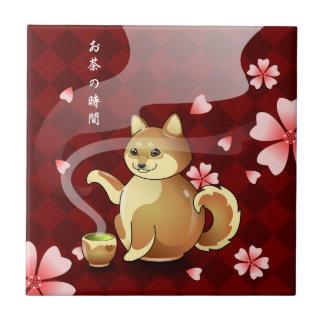 Japanese Shiba Inu Sakura Dog Teapot Rest Small Square Tile