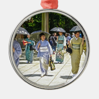 Japanese Shrine Festival Silver-Colored Round Decoration