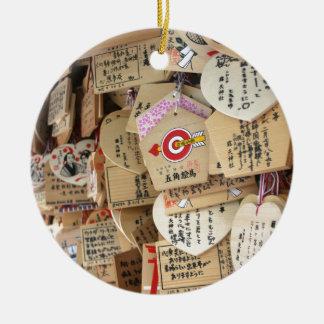 Japanese Shrine Wooden Dedications Round Ceramic Decoration