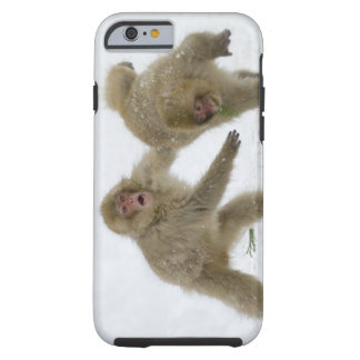 Japanese Snow Monkey cubs playing on snow Tough iPhone 6 Case