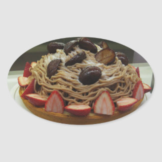 Japanese Spaghetti & Strawberry Cake Oval Sticker
