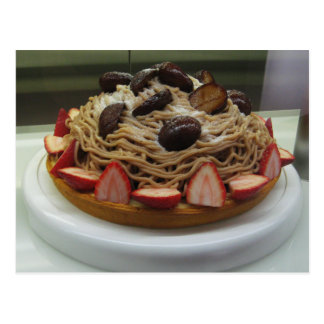 Japanese Spaghetti & Strawberry Cake Postcard
