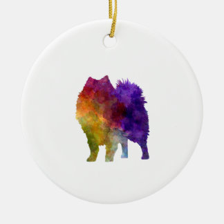 Japanese Spitz in watercolor Round Ceramic Decoration