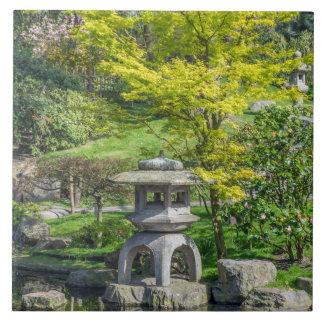 Japanese stone lantern ceramic photo tile