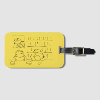 Japanese-style name tag: Fuji and book-reading Luggage Tag