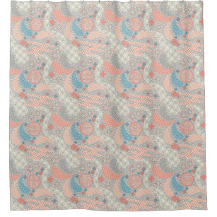 Japanese Style Pattern Illustration Shower Curtain