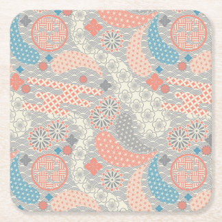 Japanese style pattern. Illustration. Square Paper Coaster