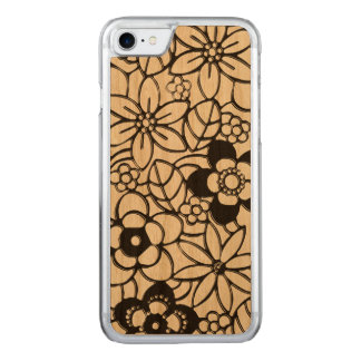 Japanese style rich floral pattern carved iPhone 8/7 case