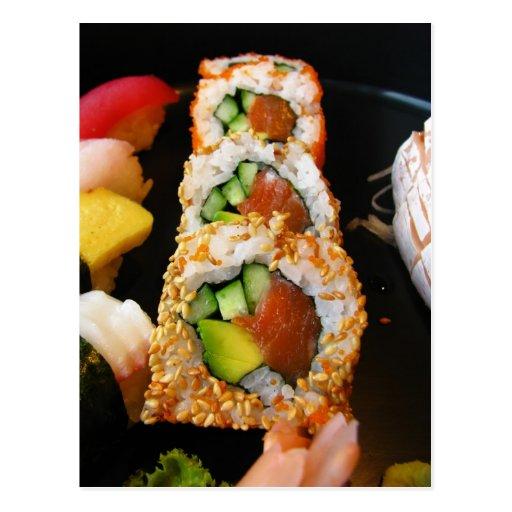 Japanese sushi California roll sashimi photo Japan Post Card