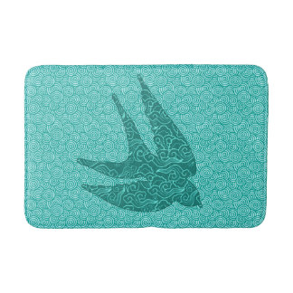 Japanese Swallow in Flight, Turquoise and Aqua Bath Mat