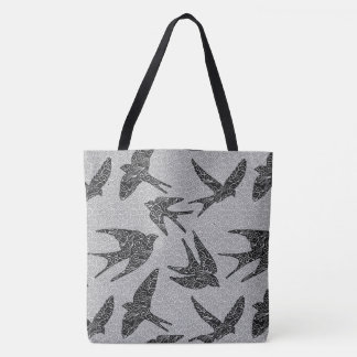Japanese Swallows in Flight, Charcoal & Light Gray Tote Bag