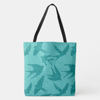 Japanese Swallows in Flight, Turquoise and Aqua Tote Bag