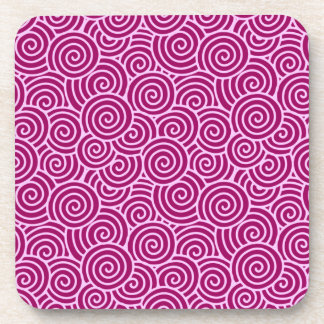 Japanese swirl pattern - burgundy and pale pink coaster