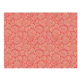 Japanese swirl pattern - coral orange postcard