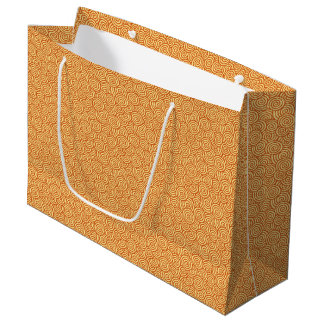 Japanese swirl pattern - mandarin & light orange large gift bag