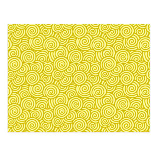 Japanese swirl pattern - mustard and light yellow postcard