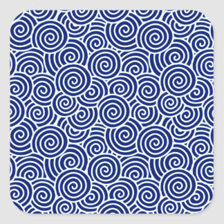 Japanese swirl pattern - navy blue and white square stickers