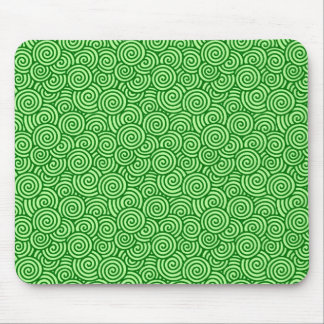 Japanese swirl pattern - pine and lime green mouse pad