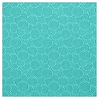 Japanese swirl pattern - turquoise and aqua fabric