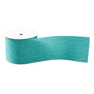 Japanese swirl pattern - turquoise and aqua grosgrain ribbon