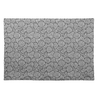 Japanese swirl pattern - white and black placemat