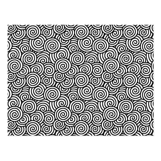 Japanese swirl pattern - white and black postcard