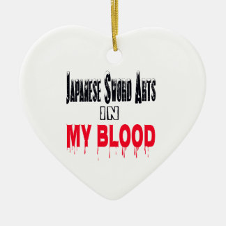 Japanese Sword Arts In My Blood Double-Sided Heart Ceramic Christmas Ornament