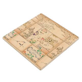 Japanese Tapestry Asian Collage tsuzure nishiki Wood Coaster