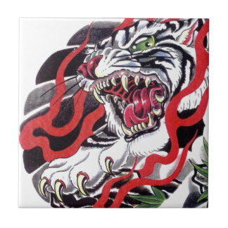 Japanese Tattoo Design- White Tiger Small Square Tile
