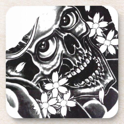Japanese tattoo skull beverage coaster