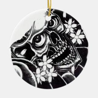 Japanese tattoo skull christmas ornament
