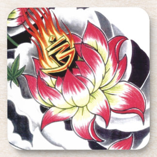 Japanese Tattoo Style Flaming Lotus Flower Beverage Coasters