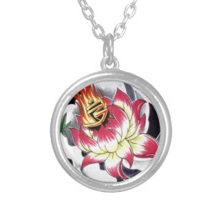 Japanese Tattoo Style Flaming Lotus Flower Silver Plated Necklace