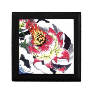 Japanese Tattoo Style Flaming Lotus Flower Small Square Gift Box