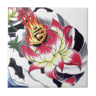 Japanese Tattoo Style Flaming Lotus Flower Small Square Tile