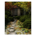 Japanese Tea House and Garden in Autumn Poster