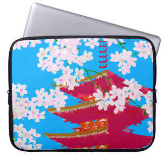 Japanese temple with cherry blossom laptop sleeve