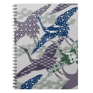 Japanese textile cranes notebook