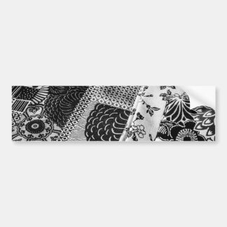Japanese textiles photo in black and white bumper sticker