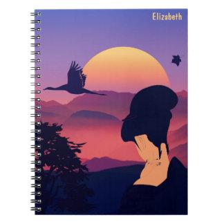 Japanese Theme Geisha Tree And Rising Sun Notebook